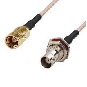 BNC Female (front nut) to SMB Female pigtail cable RG316 20cm